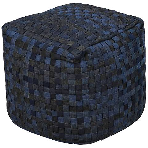 "Surya Ombre Blue Navy Charcoal 18"" Square Pouf Ottoman"