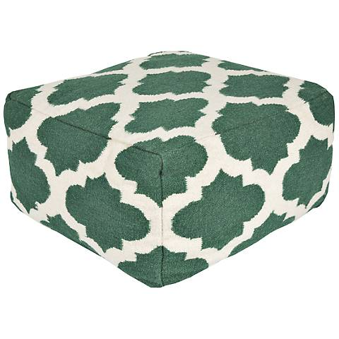 Surya Trellis Evergreen Rectangular Wool Pouf Ottoman
