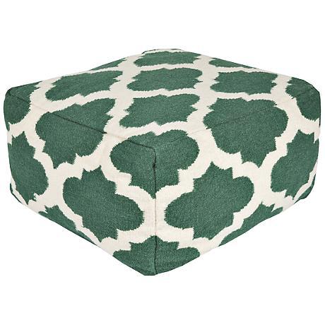 Surya Trellis Evergreen Rectangular Wool Pouf Ottoman