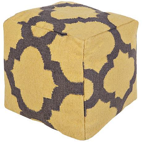 Surya Trellis Golden Rod Square Wool Pouf Ottoman