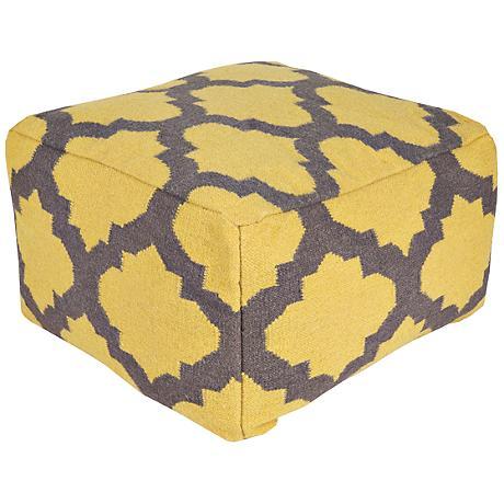 Surya Trellis Golden Rod Rectangular Wool Pouf Ottoman