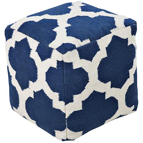 Surya Trellis Snorkel Blue Wool Square Pouf Ottoman