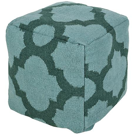 Surya Trellis Bristol Blue Wool Square Pouf Ottoman