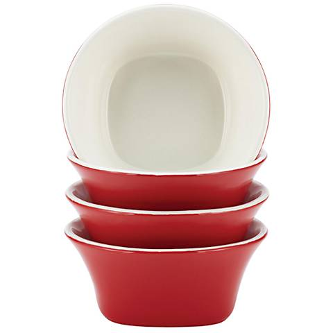 Rachael Ray Dinnerware 4-Piece Red Round Fruit Bowl Set