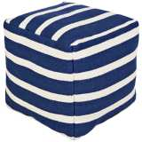 Surya Deep Water Blue Striped Wool Square Pouf Ottoman