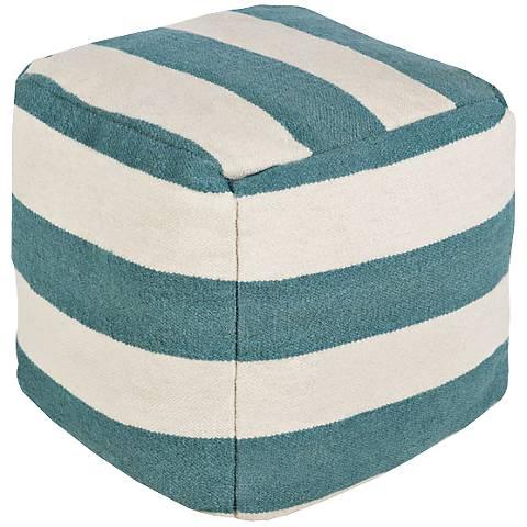 Surya Green-Blue Slate Thick Stripe Square Pouf Ottoman