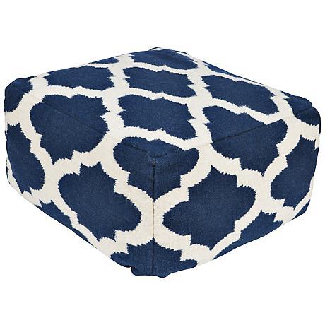 Surya Trellis Snorkel Blue Wool Rectangular Pouf Ottoman