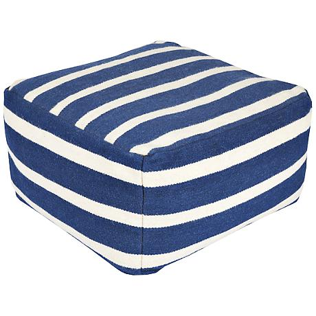 Surya Deep Water Blue Striped Rectangular Pouf Ottoman
