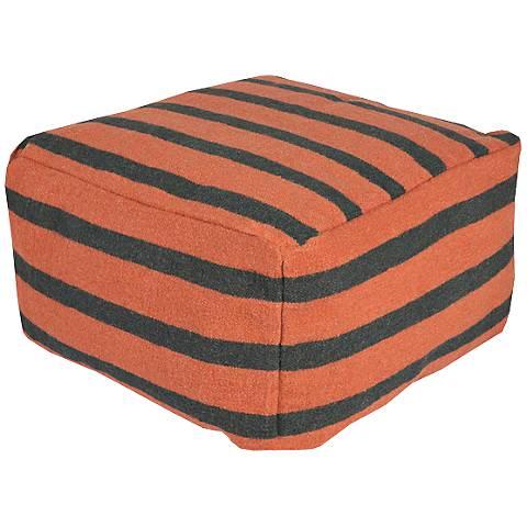 Surya Orange Ochre Wool Striped Rectangular Pouf Ottoman