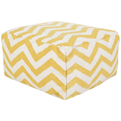 Surya Chevron Golden Rod Wool Rectangular Pouf Ottoman