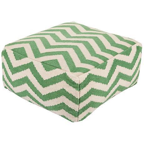 Surya Chevron Mint Green Wool Rectangular Pouf Ottoman