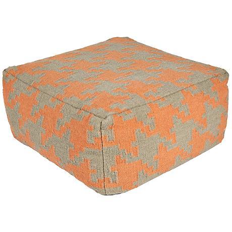 Surya Houndstooth Cadmium Orange Rectangular Pouf Ottoman