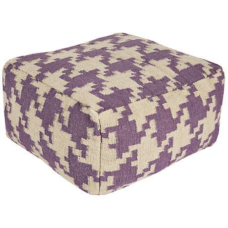Surya Houndstooth Prune Purple Rectangular Pouf Ottoman