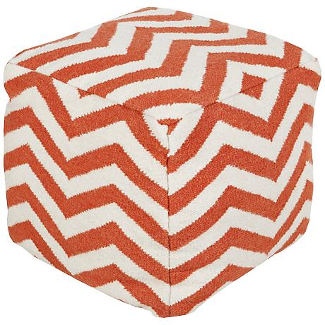 Surya Chevron Spicy Orange Wool Square Pouf Ottoman
