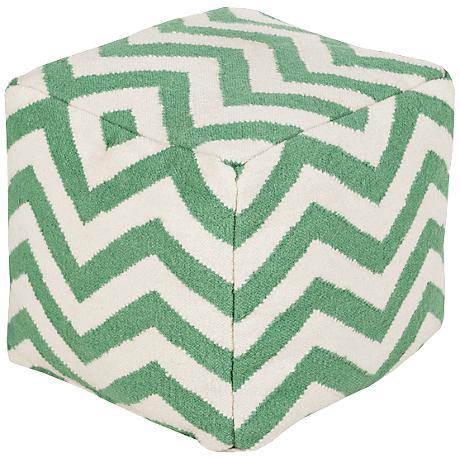 Surya Chevron Mint Green Wool Square Pouf Ottoman