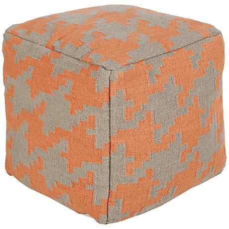 Surya Houndstooth Cadmium Orange Wool Square Pouf Ottoman