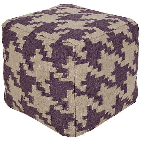 Surya Houndstooth Prune Purple Wool Square Pouf Ottoman