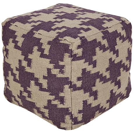 Surya Houndstooth Prune Purple Wool Square Pouf Ottoman
