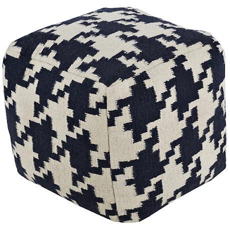 Surya Houndstooth Dark Blue Wool Square Pouf Ottoman