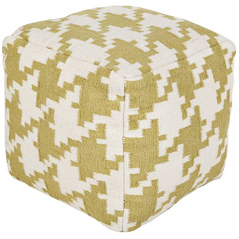 Surya Houndstooth Linden Green Wool Square Pouf Ottoman