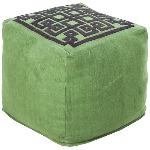 Surya Greek Key Piquant Green Apple Square Pouf Ottoman