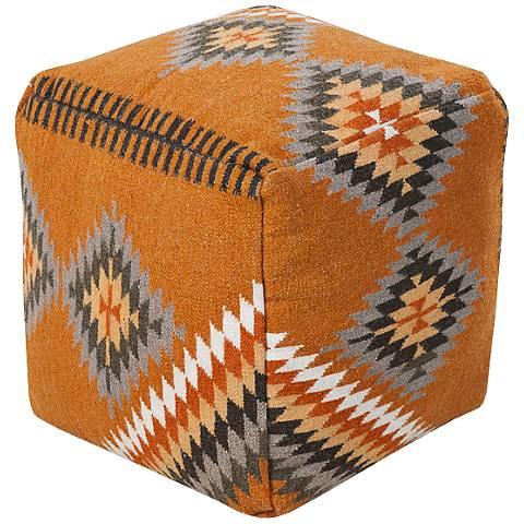 Surya Golden Ochre Tribal Wool Square Pouf Ottoman