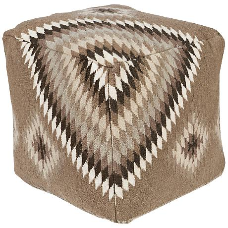 Surya Fossil Taupe Wool Tribal Square Pouf Ottoman