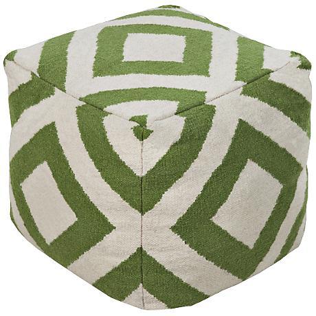 Surya Simple Diamond Fluorite Green Wool Pouf Ottoman