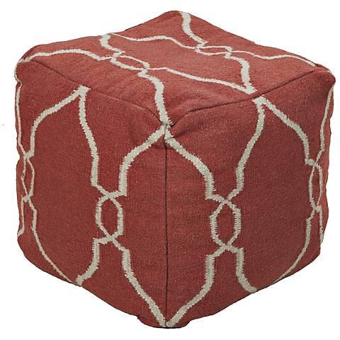Surya Trellis Paprika Red Wool Pouf Ottoman