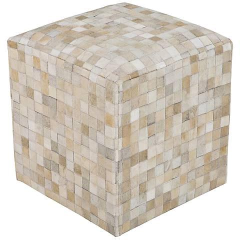 Surya Checkerboard White Asparagus Leather Pouf Ottoman