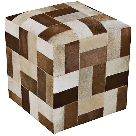 Surya Patchwork French Roast Brown Leather Pouf Ottoman