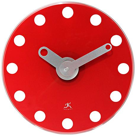 "Lila Red Modern 14"" Round Wall Clock"