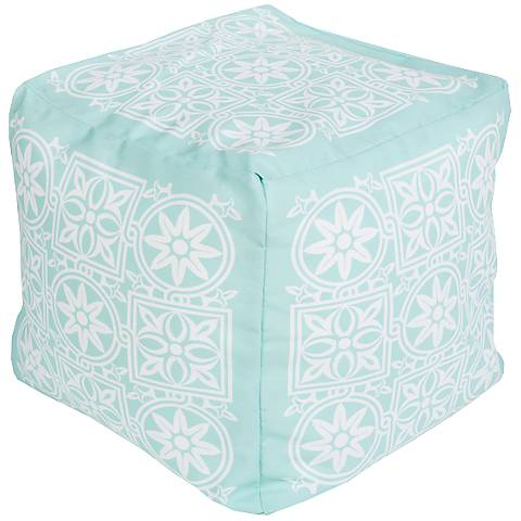 Surya Medallion Bleached Aqua Indoor/Outdoor Pouf Ottoman