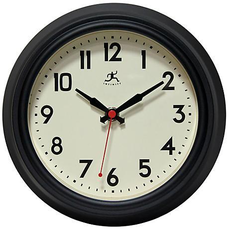 "Alexia Black Steel 8 1/2"" Round Wall Clock"