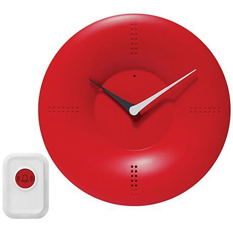 """Laurentia Red 10"""" Round Doorbell Wall Clock"""