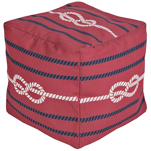 Surya Nautical Knot Aurora Red Square Pouf Ottoman