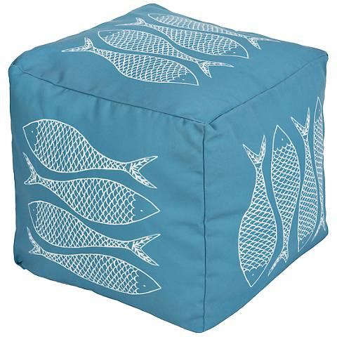 Surya Fish Horizon Blue Aqua Square Pouf Ottoman