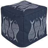 Surya Fish True Blue Square Indoor/Outdoor Pouf Ottoman