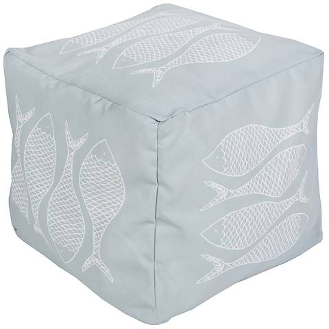 Surya Fish Misty Blue Square Indoor/Outdoor Pouf Ottoman