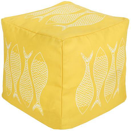 Surya Fish Snapdragon Yellow Square Pouf Ottoman