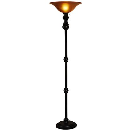bronze and amber glass torchiere floor lamp 5r839 lamps plus. Black Bedroom Furniture Sets. Home Design Ideas