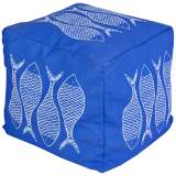 Surya Fish Nautical Blue Square Pouf Ottoman