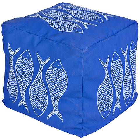 Surya Fish Nautical Blue Square Pouf Ottoman