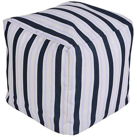Surya Nautical Stripe Bijou Blue Square Pouf Ottoman