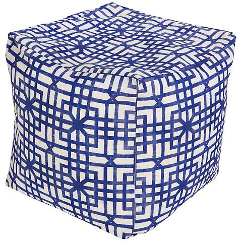 Surya Lattice Deep Ultamarine Blue Square Pouf Ottoman