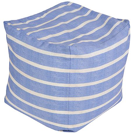 Surya Nautical Stripe Vista Blue Square Pouf Ottoman