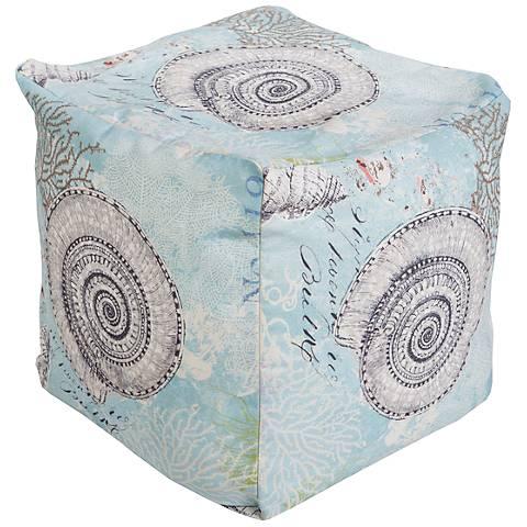Surya Seashell Aquifer Blue Square Pouf Ottoman