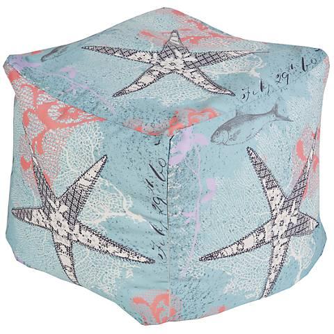 Surya Starfish Aquifer Blue Square Pouf Ottoman