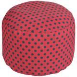 Surya Polka Dot Tomato Red Round Pouf Ottoman