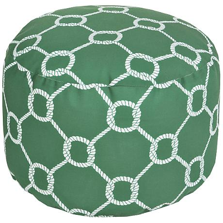 Surya Mod Knot Jelly Bean Green Round Pouf Ottoman